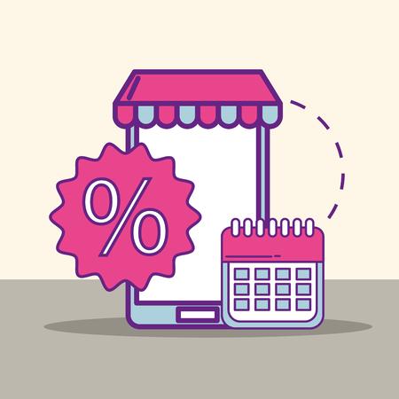 smartphone market calendar offer discount buy online vector illustration Illustration