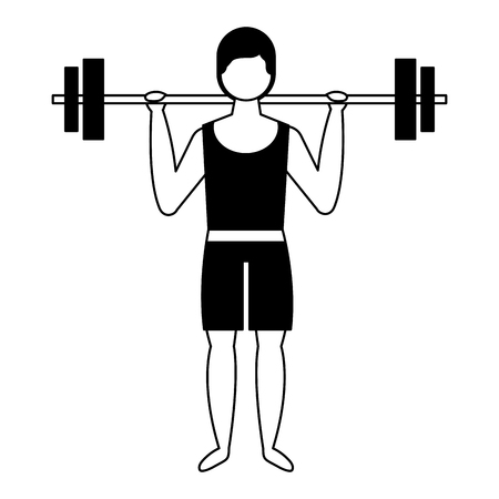 bodybuilder man in short swimsuit lifting barbell vector illustration Ilustração