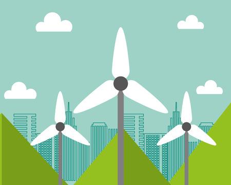 wind power turbine city renewable alternative energy vector illustration