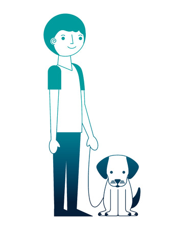 man holding pet dog characters vector illustration neon