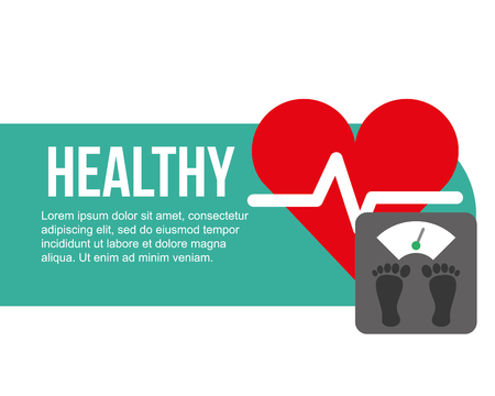 weight scale and heartbeat healthy vector illustration Illustration