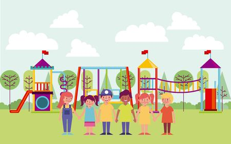 kids in the park games holding hands smiling vector illustration 向量圖像