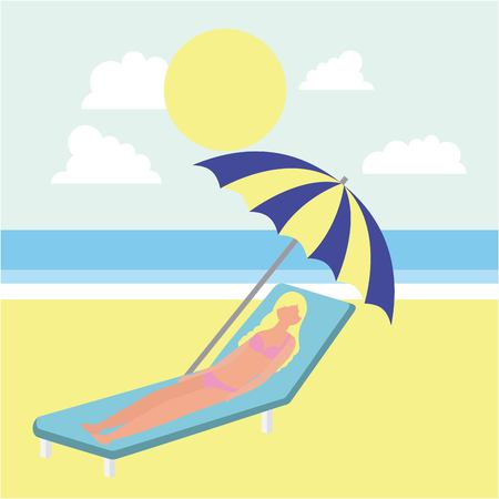 summer time woman taken sunbathing clouds sunny day vector illustration