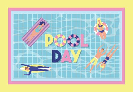 summer time vacations pool day people enjoying water floats vector illustration Illustration