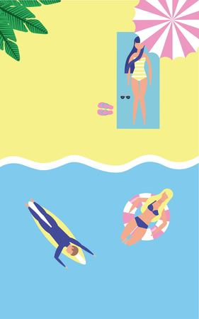 summer time vacations beach people in sea floats vector illustration