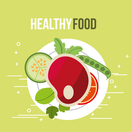 meat and tomato cucumber fresh healthy food vector illustration