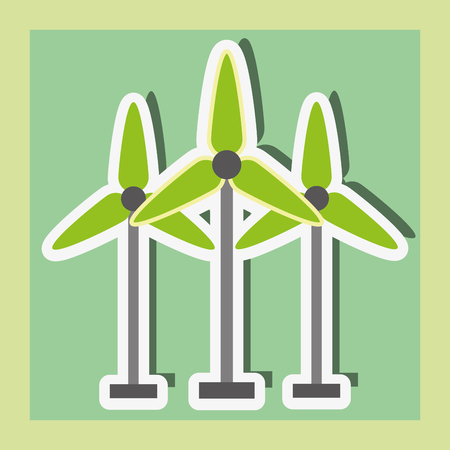 wind power turbine energy alternative sticker vector illustration