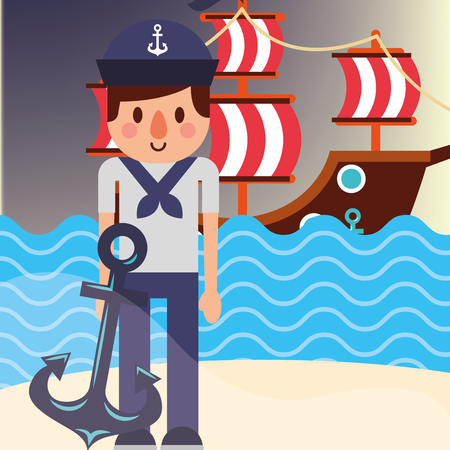 nautical maritime design beach sailor with anchor ocean pirate ship vector illustration Illustration