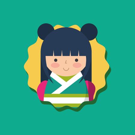 cute traditional japanese kokeshi doll in kimono vector illustration