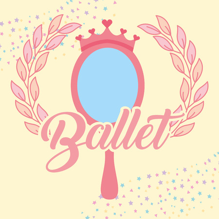 pink mirror crown jewelry ballet decoration stars vector illustration Foto de archivo - 104676637