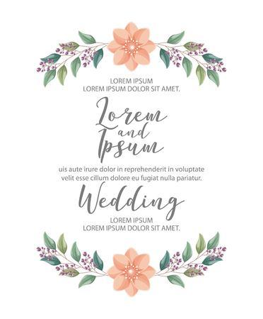 wedding card flowers ornament romantic vector illustration 스톡 콘텐츠 - 114969313