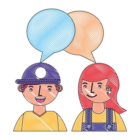 man and woman talking speech bubble portrait vector illustration Illustration