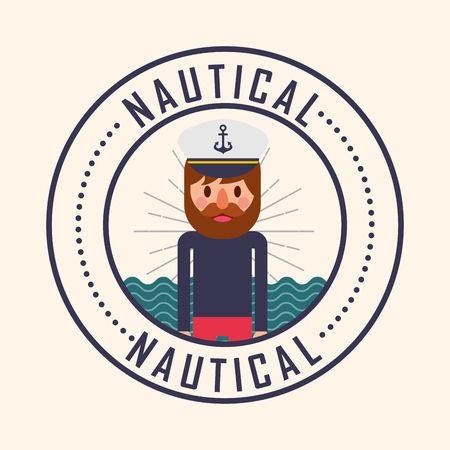 nautical maritime design sticker navy hat pirate vector illustration Ilustração