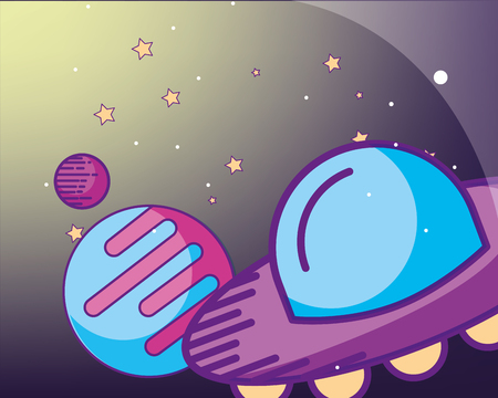 space galaxy card sparkly stars ufo planets vector illustration
