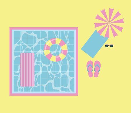 Piscina de vacaciones de verano con flotadores paraguas toalla gafas flips flops ilustración vectorial