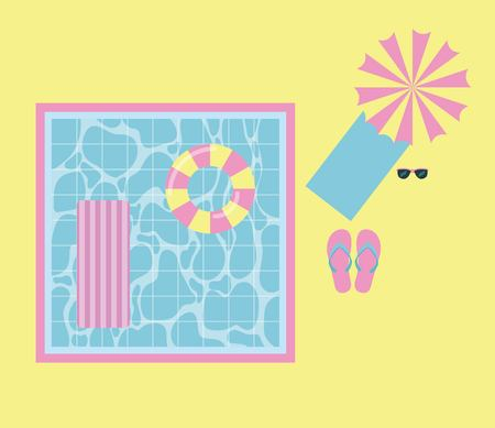 summer time vacation pool with floats umbrella towel glasses flips flops vector illustration Vectores