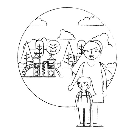 mom and daughter together in the playground park vector illustration sketch 일러스트