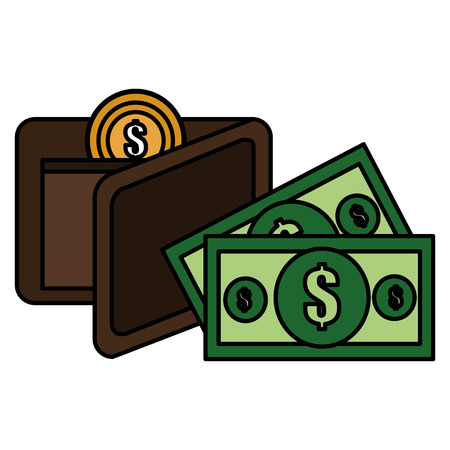 wallet with bills and coins money vector illustration design