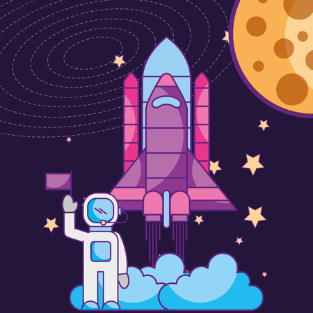 space galaxy card astronaut flag rocket launching moon vector illustration