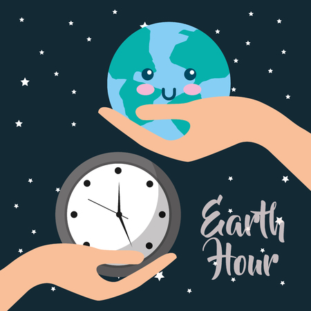 earth hour hands with planet world and clock vector illustration Vettoriali