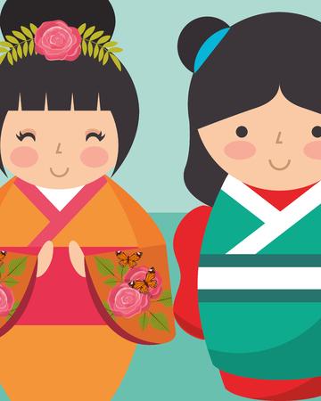 sweet japanese kokeshi dolls in kimono vector illustration