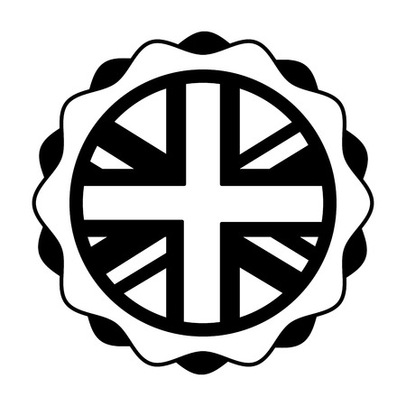 united kingdom flag in sticker decoration vector illustration black and white  イラスト・ベクター素材