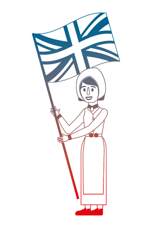 woman cartoon in clothes traditional england flag vector illustration gradient design