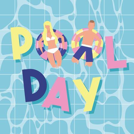 summer time vacations pool day couple sitting floats vector illustration  イラスト・ベクター素材