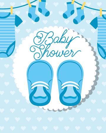 Petits vêtements bleus suspendus et chaussures baby shower card vector illustration Vecteurs