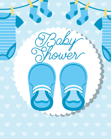 blue little clothes hanging and shoes baby shower card vector illustration Illustration