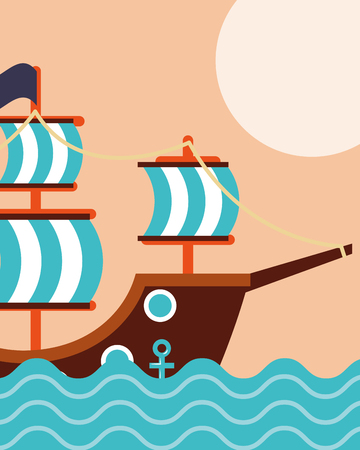 nautical maritime design ocean pirate ship mans vector illustration