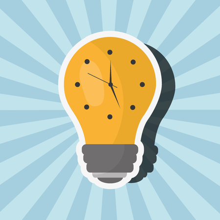 earth hour bulb light clock time vector illustration