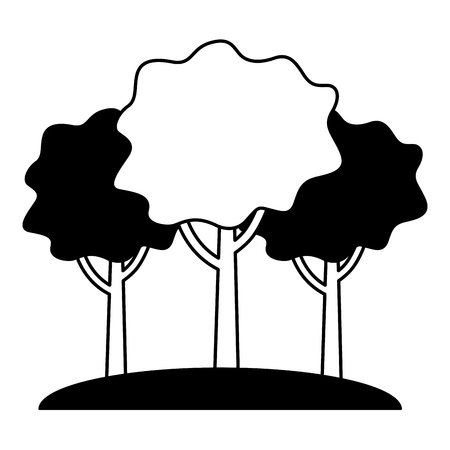 natural three tree foliage forest image vector illustration