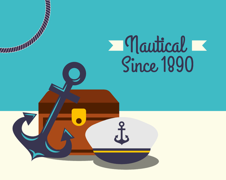 nautical maritime design beach sand treasure chest anchor navy hat vector illustration 일러스트