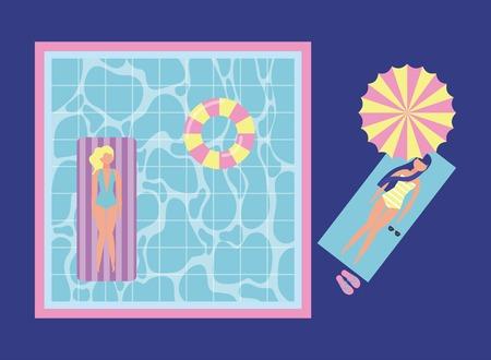 summer time vacation girl lying down umbrella pool blonde enjoying float vector illustration