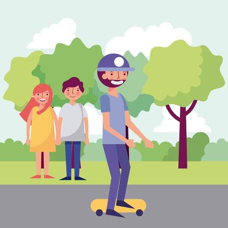 people park couple holding hands boy riding skateboard vector illustration