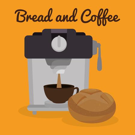 delicious bread and coffee label vector illustration design Archivio Fotografico - 104714616