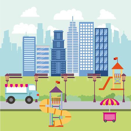 park and city food car buildings game for childrens vector illustration