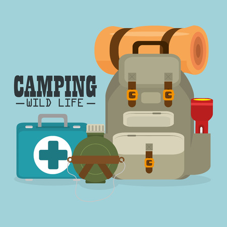 camping wild life with equipment vector illustration design