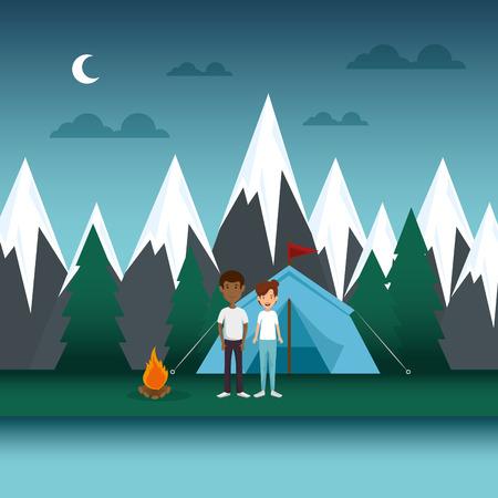 young couple in the camping zone vector illustration design Archivio Fotografico - 114950780