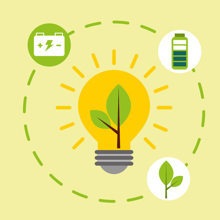 light bulb ecology accumulator battery alternative energy vector illustration