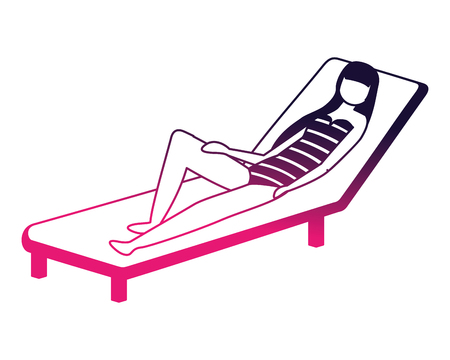 woman in swimsuit on the deck chair vector illustration