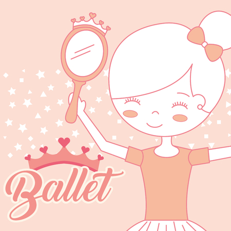beautiful ballerina with mirror accessory ballet vector illustration