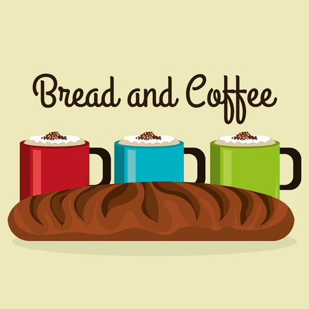 delicious french bread and coffee label vector illustration design