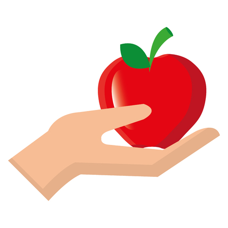hand with tomato vegetarian food vector illustration design