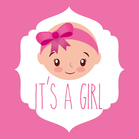 cute face girl baby shower label vector illustration