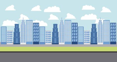 people park and city clouds sunny day street vector illustration