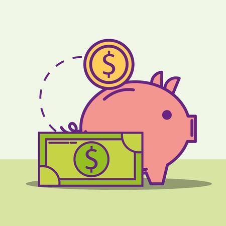 piggy bank coin and banknote money buy online vector illustration Illustration