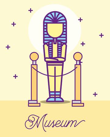 Museo de diseño de monumentos faraón Egipto estrellas ilustración vectorial