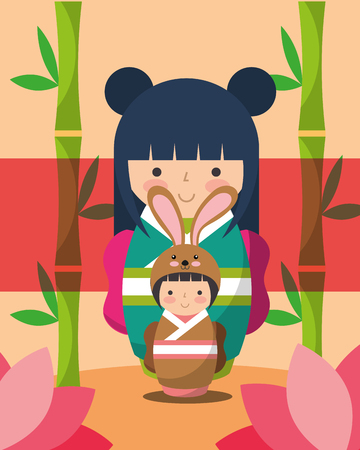 japanese kokeshi dolls kimono costume flowers vector illustration 向量圖像
